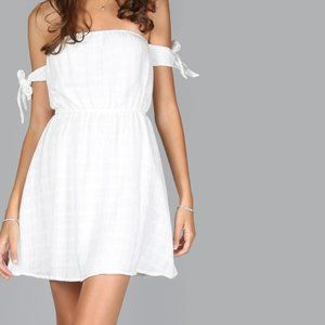 Tube Tie Sleeve Dress WHITE  (M)